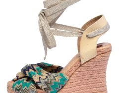 Missoni Multicolor Lurex Fabric And Canvas Knotted Espadrille Wedge Ankle Wrap Sandals Size 38