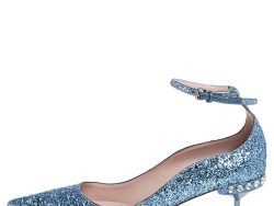 Miu Miu Blue Glitter Crystal Embellished Ankle Strap Pointed Toe Pumps Size 39