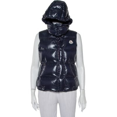 Moncler Navy Blue Synthetic Quilted Sleeveless Hooded Galene Gilet S