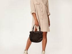 Moschino Brown/Olive Green Signature Canvas and Leather Hobo