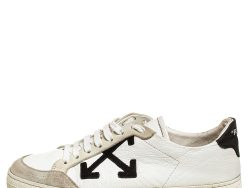 Off-White White/Black Leather Carryover Low Top Sneakers Size 37