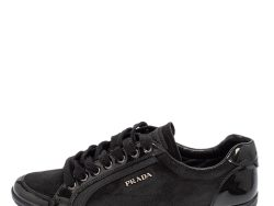 Prada Sport Black Suede And Patent Leather Low Top Sneakers Size 38