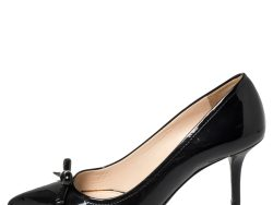 Prada Sport Black Patent Leather Bow Pointed Toe Pumps Size 37.5