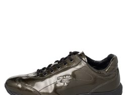 Prada Olive Green Patent Leather Low Top Sneakers Size 38