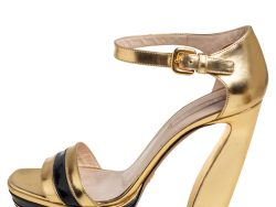 Prada Gold/Black Patent Leather and Leather Ankle Strap Platform Sandals Size 39