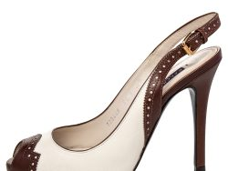 Ralph Lauren Collection White/Brown Leather Peep Toe Slingback Sandals Size 36.5