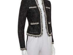 Rebecca Taylor Black Tweed Chain Detail Open Front Jacket S