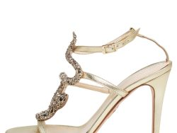 Roberto Cavalli Metallic Leather And Snake Detail Strappy Sandals Size 39