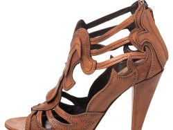 Roberto Cavalli Brown Leather Cage Open Toe Sandals Size 38