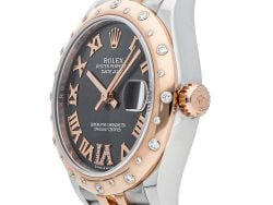 Rolex Grey Diamonds 18K Rose Gold And Stainless Steel Datejust 278341RBR Women's Wristwatch 31 MM