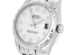 Rolex Mother of Pearl 18K White Gold & Stainless Steel Diamond Datejust 178344 Women's Wristwatch 31 mm