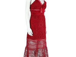 Self Portrait Red Floral Lace Sleeveless Midi Dress S