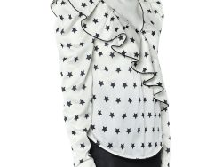 Self Portrait White Star printed Satin Ruffled Plunging Neck Top S
