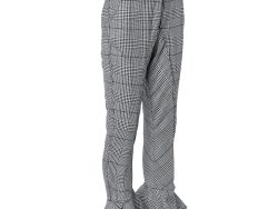 Self Portrait Monochrome Checkered Twill Ruffled Hem Belted Cropped Pants S