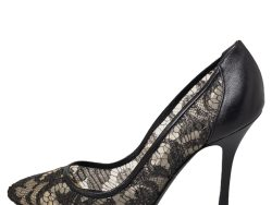 Sergio Rossi Black Lace And Leather Pumps Size 39