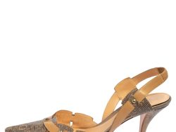 Sergio Rossi Beige/Grey Karung and Leather Trim Vintage Slingback Pointed Toe Pumps Size 41