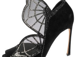 Sergio Rossi Black Suede and Mesh Crystal Embellished Butterfly Peep Toe Pumps Size 39.5