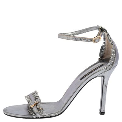 Sergio Rossi Metallic Grey Ruffle Leather Ankle Strap Sandals Size 40
