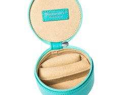 Tiffany & Co. Turquoise Leather Round Jewelry Case