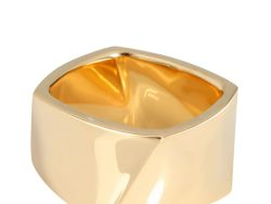 Tiffany & Co. Frank Gehry Torque 18K Yellow Gold Band Ring Size EU 55