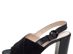 Tod's Black Leather and Suede Crisscross Block Heel Slingback Sandals Size 37