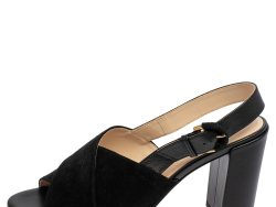 Tod's Black Suede and Leather Crisscross Block Heel Slingback Sandals Size 37.5