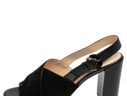 Tod's Black Suede and Leather Crisscross Block Heel Slingback Sandals Size 38