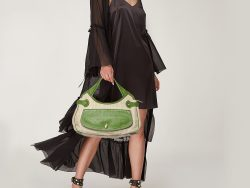 Tod's Beige /Green Canvas And Leather Hobo