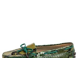 Tod's Green Python Leather Slip On Loafers Size 35