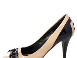 Tod's Beige/Black Patent Leather Double T Open Toe Loafer Pumps Size 37.5