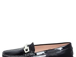 Tod's Black Patent Leather Horsebit Loafers Size 37.5