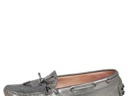 Tod's Silver Leather  Slip On Bow Loafers Size 38.5