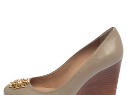 Tory Burch Grey Leather Melinda Wedge Pumps Size 37.5
