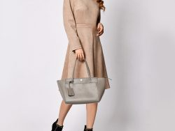 Tory Burch Grey Leather Small Parker Tote