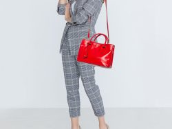 Tory Burch Red Leather Robinson Double Zip Tote
