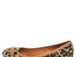 Tory Burch Black/Brown Leopard Print Straw and Leather Trim Ballet Flats Size