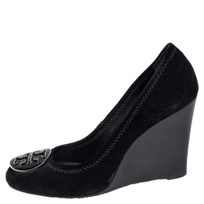 Tory Burch Black Suede Sophie Wedge Pumps Size 37.5