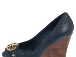 Tory Burch Blue Leather Leticia Peep Toe Wedge Pumps Size 37.5