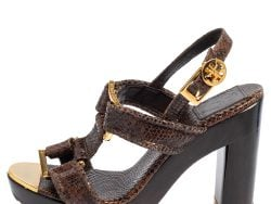 Tory Burch Brown Python Embossed Leather Karmen T-Strap Clog Sandals Size 36