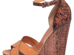 Tory Burch Brown Leather and Python Platform Wedge Ankle Strap Sandals Size 40