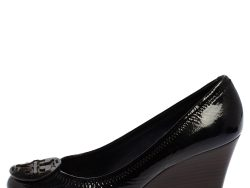 Tory Burch Navy Blue Patent Leather Sophie Wedge Pumps Size 38.5