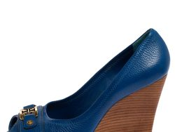 Tory Burch Blue Leather Peep Toe Wedge Pumps Size 39