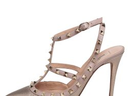 Valentino Gold/Pink Leather Rockstud Pointed Toe Sandals Size 40.5
