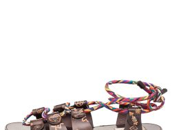 Valentino Brown Leather And Multicolor Rope Flat Ankle Wrap Sandals Size 38