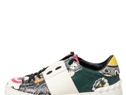 Valentino Multicolor Printed Leather Rockstud Low Top Sneakers Size 38