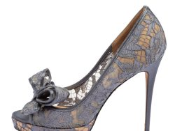 Valentino Grey Lace And Satin Peep Toe Bow Pumps Size 39