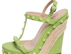 Valentino Olive Green Leather Rockstud Wedge Sandals Size 37.5