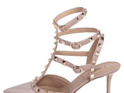 Valentino Beige Patent Leather Rockstud Caged Pointed Toe Pumps Size 37.5