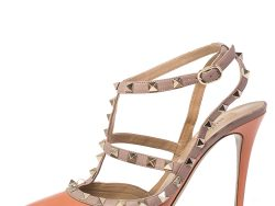 Valentino Peach/Beige Patent Leather And Leather Rockstud Ankle Strap Pointed Toe Sandals Size 39
