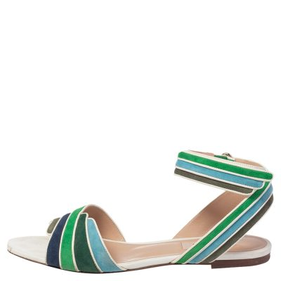 Valentino Multicolor Suede and Leather Rainbow Ankle Wrap Flat Sandals Size 38.5